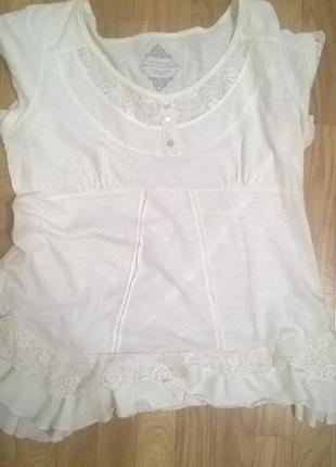 Блуза футболка с прошвой и рюшами 14р