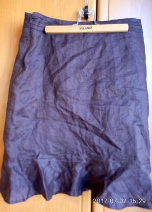 Юбка льняная коричневая от amisu