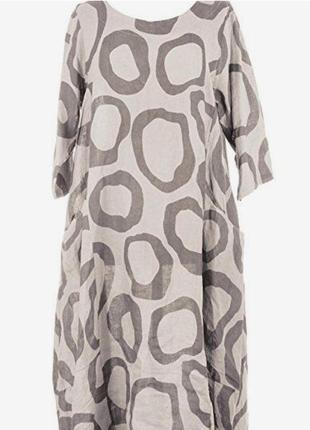Фирменное стильное натуральное льное крутое платье оверсайз.