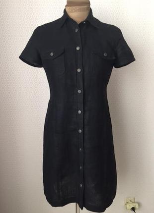 Льняное платье-рубашка большого размера (евр 42, укр 48-50) от h&m