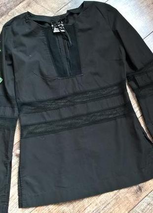 Чёрная брендовая котоновая блуза от ferre-италия-сеточка-s-ка