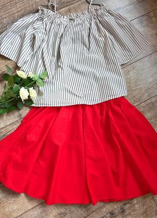 Хит!супер стильная блуза с открытыми плечами в полоску/свободная/h&m