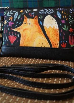 Вместительный оригинальный клатч лисица, лисичка