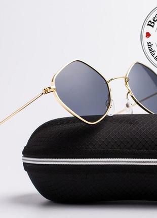 Креативные очки цвета пепел/антрацит для стильного летнего образа. uv400-защита 100%