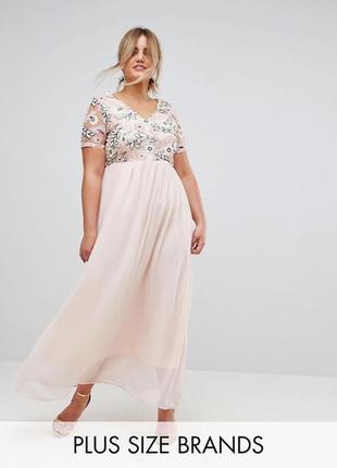 Новорічний розпродаж. платье макси с пайетками на лифе club l plus