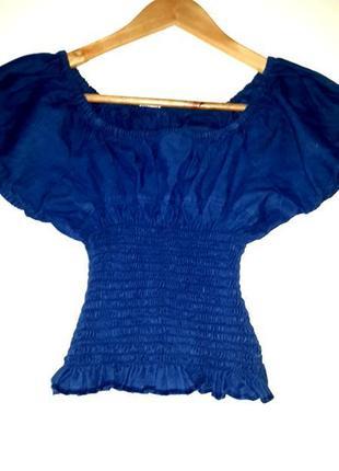 Джинсовая блузочка на резиночке с рюшами