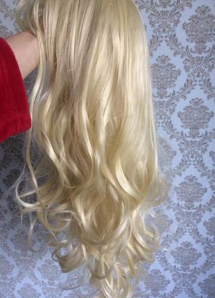 Парик блондинка длинные вооосы с челкой