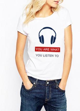 Футболка белая «you are what you listen to» 100% хлопок размеры