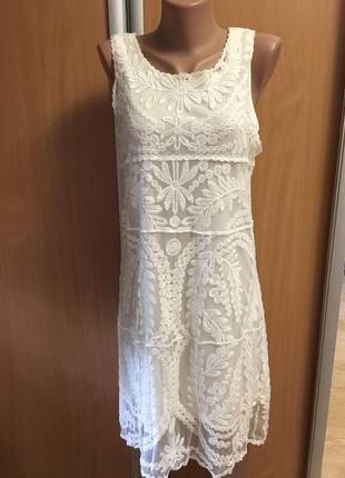 Платье кружевное двойное размер 10