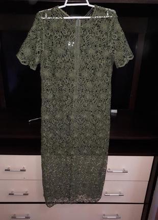 Шикарное кружевное платье миди раз.м