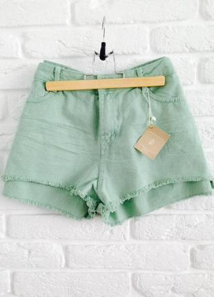 Новые качественные мятные короткие коттоновове джинсовые шорты высокая талия stradivarius