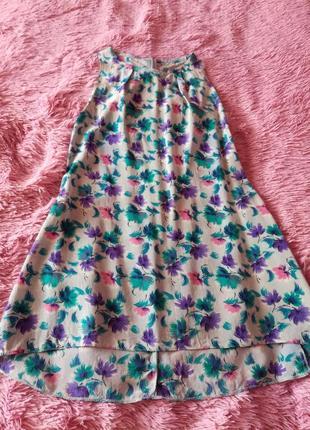 Платье в цветочный принт, разнодлинное