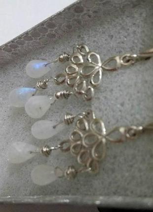 Серьги с лунным камнем, серебро 925