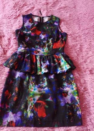 Платье цветочный принт, платье с баской