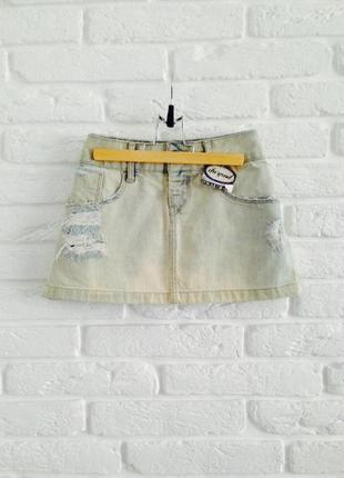 Джинсовая мини юбка из 100%cottona denim