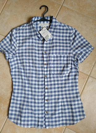 Тонкая хлопковая рубашка в клетку фирмы h&m