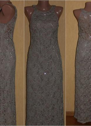 Красивенное платье макси гипюр беж в пайетках r & m richards usa 36/38