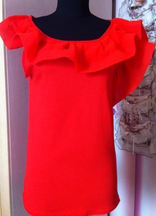 Красивая красная блуза с воланами  sun  р s-m