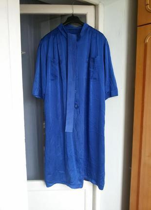 Роскошное  шелковое платье рубашка с карманами 100% шелк