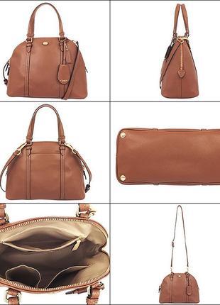 Новая стильная кожаная (сафьяно) сумка от coach. оригинал