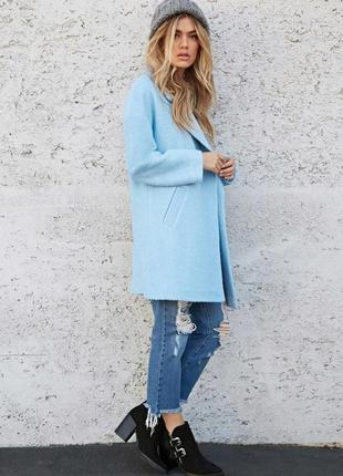 Голубое пальто бойфренд