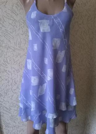 Летнее двойное платье-сарафан, имитация воланов,10-12 размер