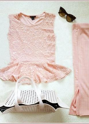 Топ с баской кружево/блузка из гипюра с баской пудрового цвета f&f