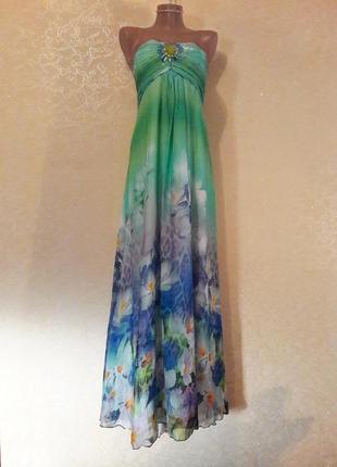 Красивое длинное шифоновое нарядное летнее платье