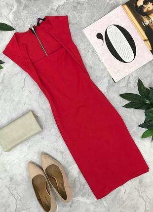 Ярко красное платье с открытым декольте    dr1826199  evita