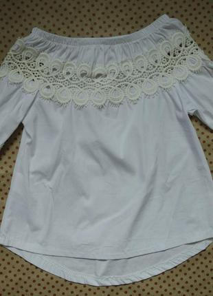 Легка фірмова рубашка-блузка з мереживом