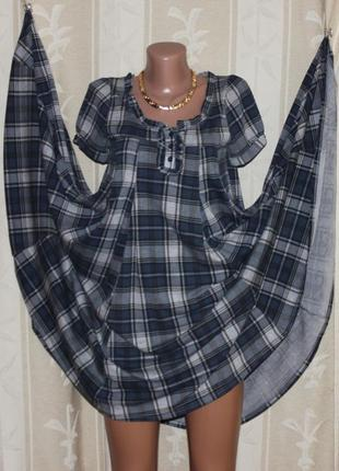 Кукольно-завальное платье солнце клёш трикотаж синяя клетка topshop 36/38р