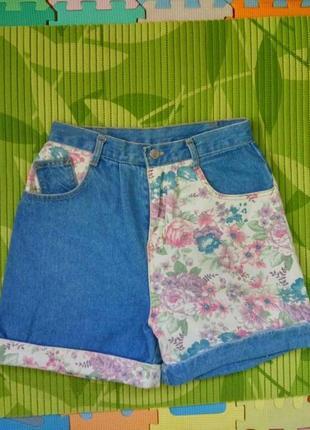 Джинсовые шорты высокая посадка с цветочным xs/sпринтом