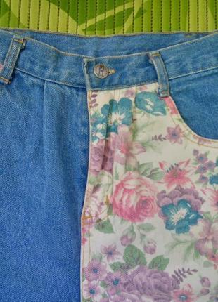 Джинсовые шорты высокая посадка с цветочным xs/sпринтом3