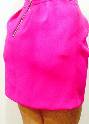 Качественная яркая розовая мини юбка высокая талия river island