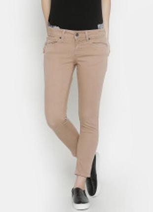 Светлые бежевые джинсы слим logg от h&m