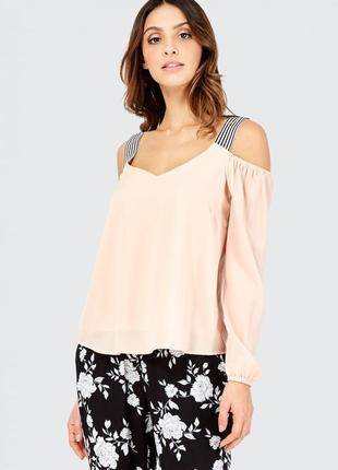 Нюдовая бежевая блузка с открытыми плечами и лямками