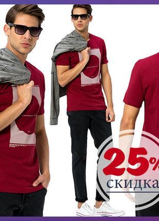 Мужская футболка бордового цвета lc waikiki / лс вайкики  футболка с рисунком