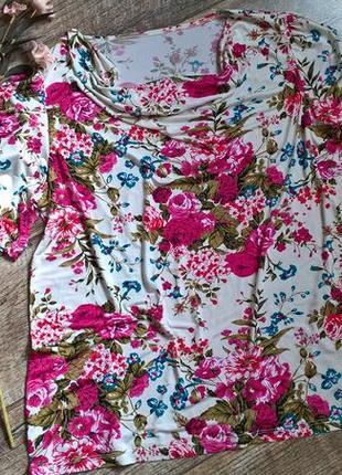 Яркая цветочная блуза с розами/летняя/струящаяся ткань/не парит-l-xl