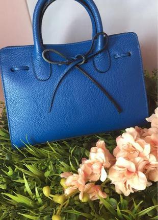 Кожаная сумка синего цвета (италия)