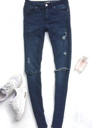 Синие джинсы h&m (джинсы скини \ слим)