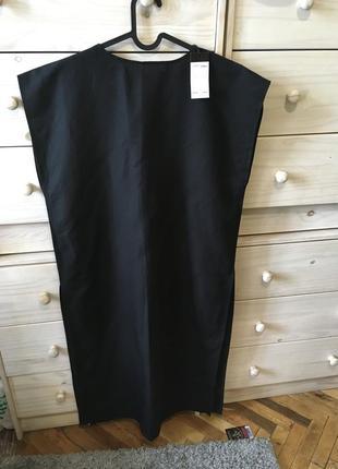 Чёрное базовое платье миди туника лён 100% италия
