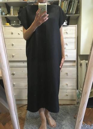Льняное миди платье оверсайз туника 10-12 италия