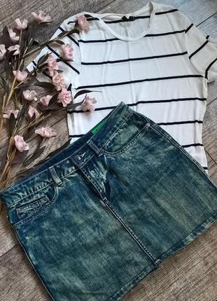 Аутентичная брендовая джинсовая мини юбка от gaastra/зелёная расцветка