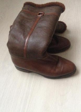 Зимние кожаные сапоги, италия, стелька-23,3 см, /37 р