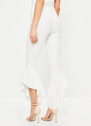 Распродажа новые нарядные ассиметричные брюки сигареты с воланами missguided