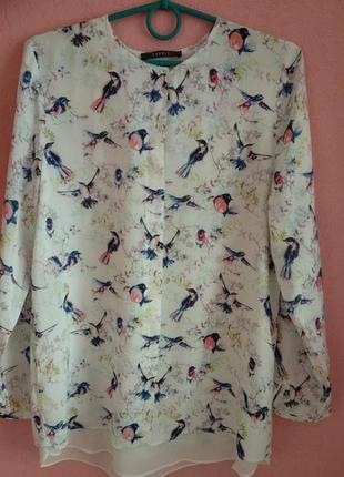 Модная блузка от esprit p.m-l принт птички/рубашка из вискозы в птичках
