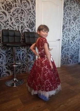 Бальное платье бордовый бархат