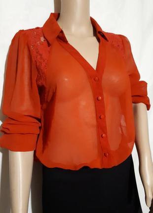 Коралловая блузка рубашка forever 21 кружево