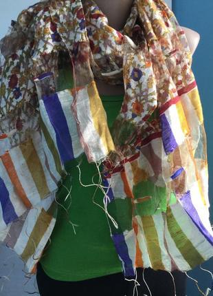 Эксклюзивный шелковый шарфик с коконами шелка