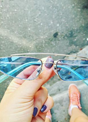 Стильные трендовые очки с голубой прозрачной линзой sci-fi